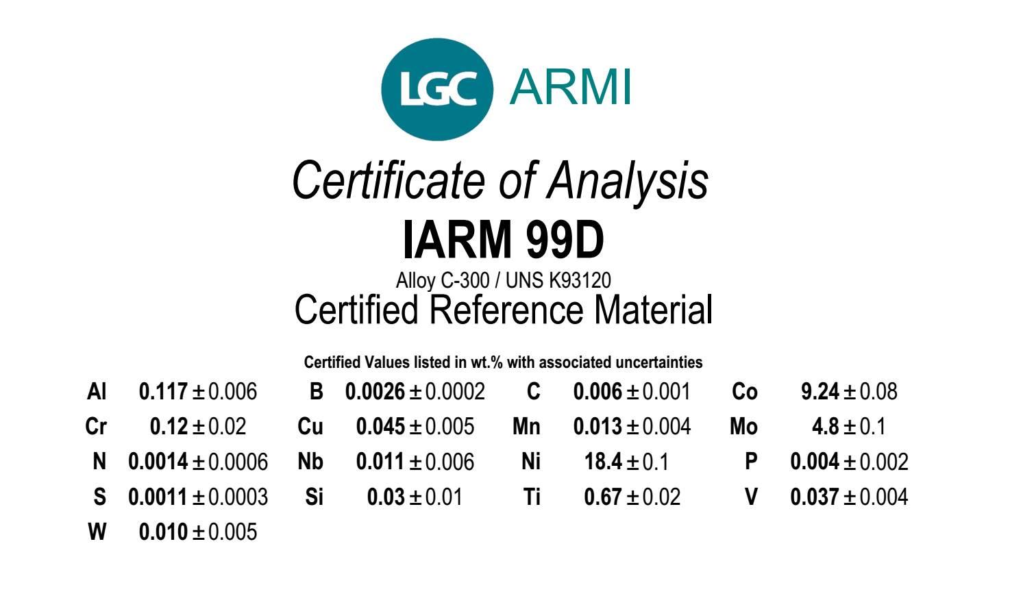 IARM 99D Maraging Steel CRM